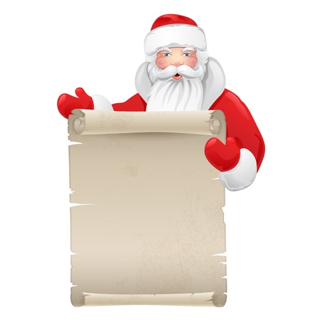 Santa claus with the manuscript  Illustration on a Christmas theme Stock Vector - 16606053