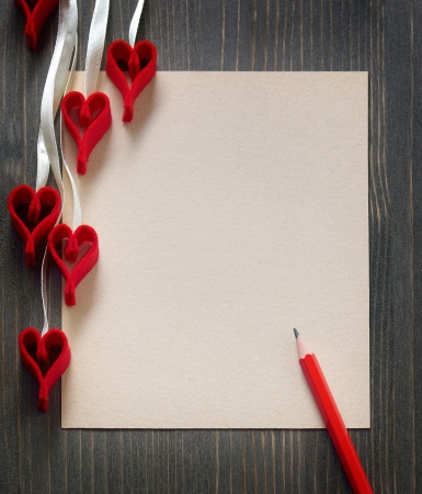 Background for design with a note and decorative hearts Stock Photo - 17227388