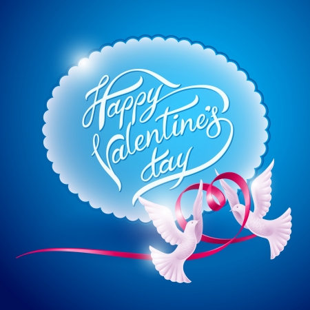 Two doves and a ribbon in the form of a heart  Background on Valentine Vector