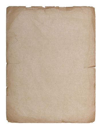 Sheet of old paper isolated on a white background Stock Photo - 17450355