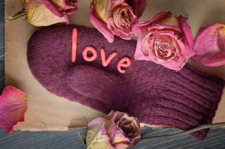 Decorative composition with gloves on Valentine photo