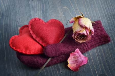 Two decorative heart and flower gloves photo