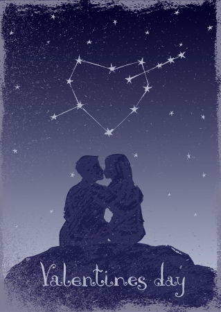 Couple in love and heart-shaped constellation  Illustration of Valentine Vector