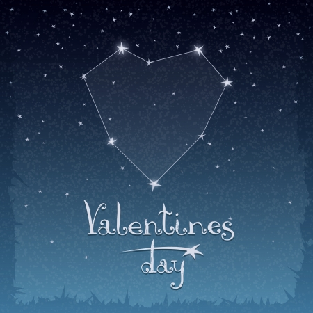 Illustration with a constellation of love for Valentine Vector