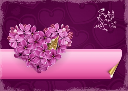 Heart of lilac flowers  Illustration on a theme of Valentine Vector