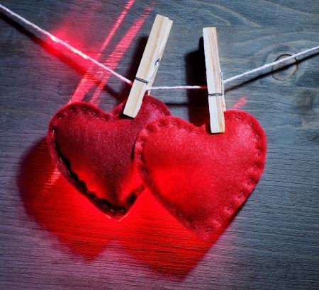 Decorative red hearts glow Stock Photo - 17635089