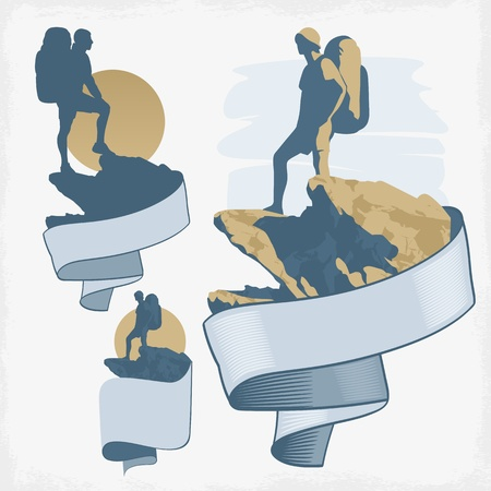 adventure sports: Tourist with backpack standing on a mountain top  vector drawing
