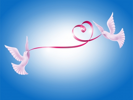 Pair of white doves with red ribbon in the form of heart