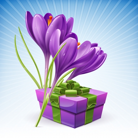 Beautiful package with a gift and flowers of spring
