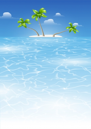 wave tourist: Tropical background for design with sea and island with palm trees