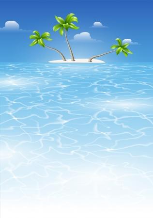 Tropical fond pour la conception avec la mer et l'île avec des palmiers