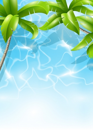 Palm trees and sea  Background for design on a summer holiday in the tropics Vector