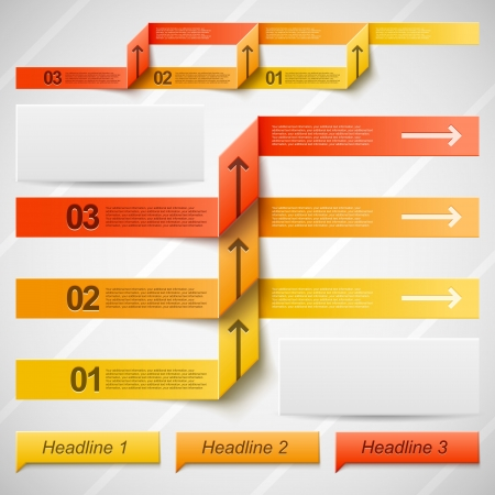 Set of vector elements for infographic in warm orange colors Vector