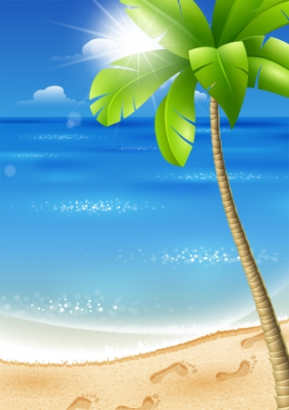 Illustration of a tropical beach with palm trees and sun