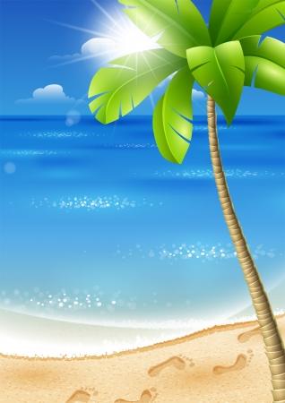 Illustrazione di una spiaggia tropicale con palme e sole Archivio Fotografico - 18546738