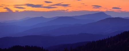 ranges: Evening panorama from the mountain ranges