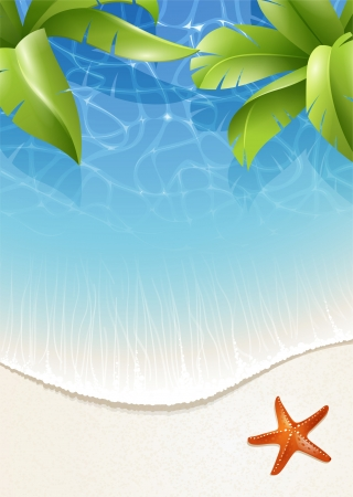 Sunny summer background for design with palm leaves over water Vettoriali