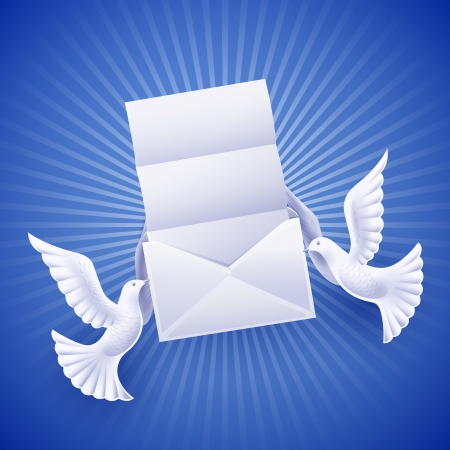 Pair of white doves holding an envelope with a letter Vector