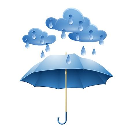 Chmura z kroplami deszczu i niebieskim parasolem na białym tle