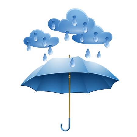 cartoon umbrella: Cloud with rain drops and blue umbrella isolated on white background