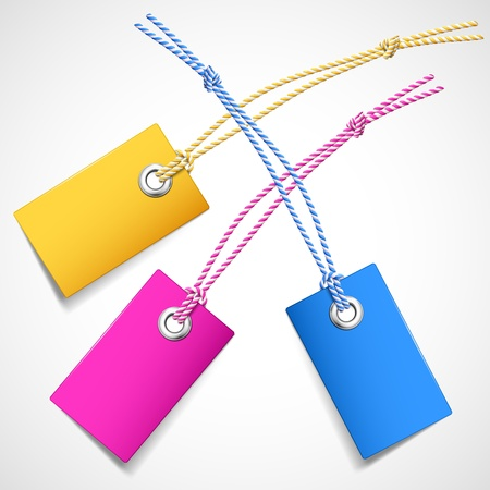 Illustration of colored price tags on a white background Vector
