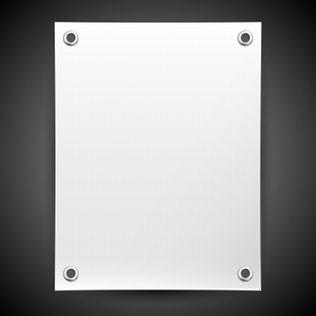 Empty white banner on a black background for placing information Stok Fotoğraf - 18839131