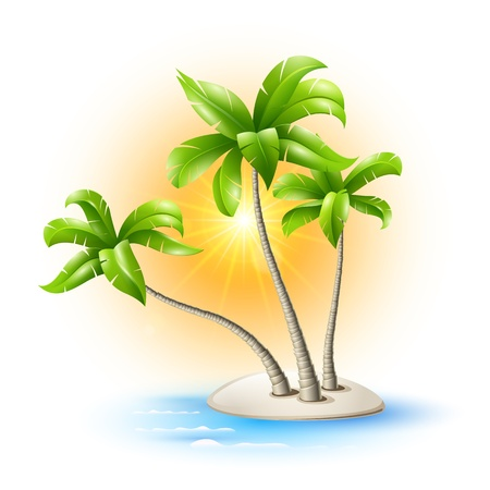 coco: Island in the sea with coconut trees and a radiant sun Illustration