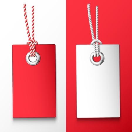 Due tag prezzo rosso e bianco Archivio Fotografico - 18839359