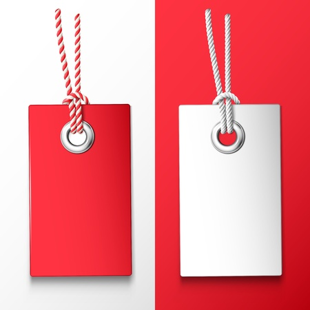 blank tag: Two red and white price tag