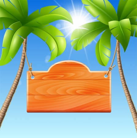 Wooden signboard of a summer holiday in the tropics Vector