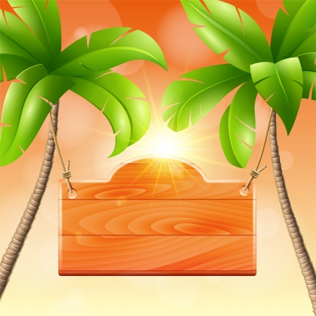 Wooden signboard on a palm  Tropical design Иллюстрация