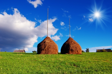 Summer landscape with haystacks clear day in the mountain village photo