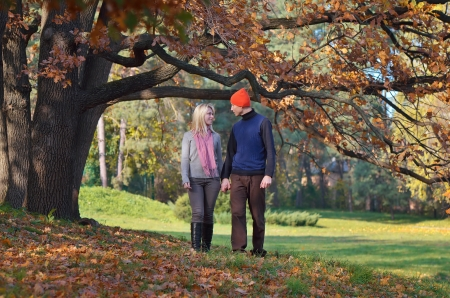 Happy couple resting in autumn park holding hands photo