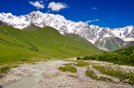 shkhara: Summer landscape on a sunny day in the mountains  Shkhara Mountain, Georgia, Greater Caucasus Range Stock Photo