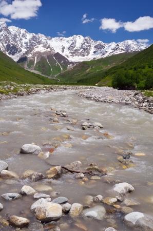 shkhara: Mountain valley with a river  Shkhara Ridge Mountains, Georgia, Caucasus