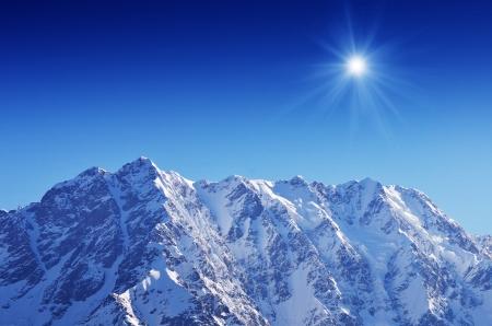 shkhara: Snowy mountain peak Shkhara  Georgia, Main Caucasian Ridge