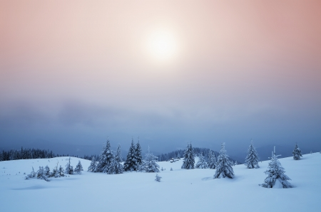 Winter landscape misty evening in a mountain valley Stock Photo