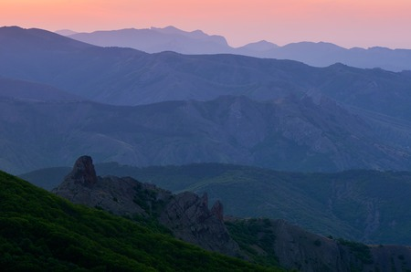 ranges: Silhouette of the mountain ranges at dawn Stock Photo