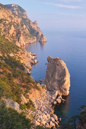 aya: Seascape with rocks on the shore  An Evening with the Solar beautiful light on the rocks  Cape Aya, Crimea, Ukraine, Europe