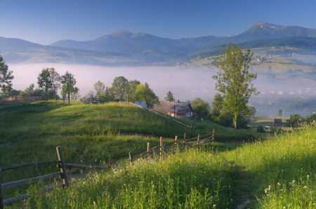 Morning landscape with a yard in the village  Mountain landscape in summer  Beautiful place  Carpathians, Ukraine, Europe photo