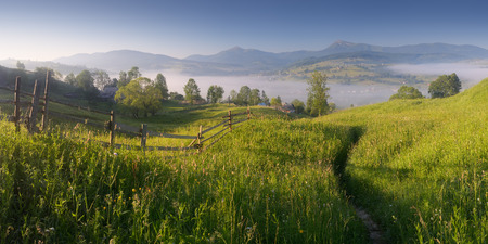 Panorama on a sunny morning  Mountain village with mist  Trail in the grass  Carpathians, Ukraine, Europe photo