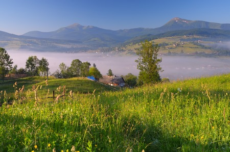 Summer landscape with a village in the mountains  Morning fog photo