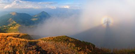 gloria: Landscape panorama autumn day. Beautiful gloria in the fog Stock Photo