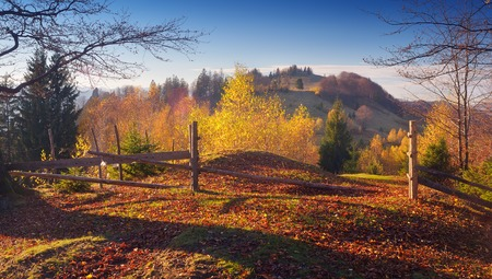 Road in the mountain village. Beautiful autumn. Wooden fence with a gate. Carpathian mountains, Ukraine, Europe photo