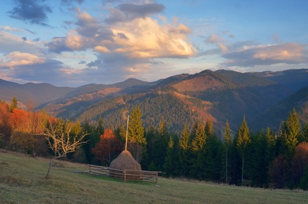 backwoods: Autumn landscape. Mountain meadow with haystack. Beautiful clouds at sunset. Carpathians, Ukraine, Europe Stock Photo