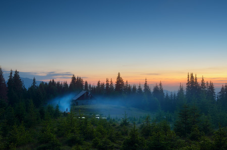Evening landscape. Twilight in the mountains. Camping Outdoors