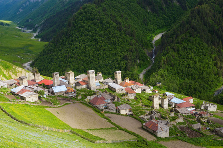 svaneti: Summer landscape. Alpine ancient village. Adishi, Zemo Svaneti, Georgia