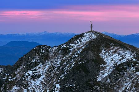 vertex: Mountain landscape with a vertex. Sunset with colorful sky. Carpathians, Ukraine, Europe