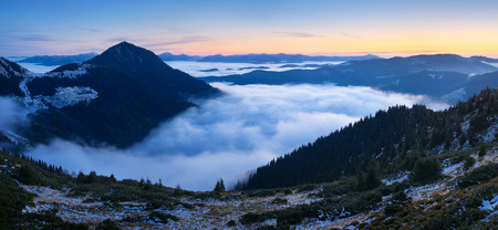 wil: Mountain landscape at dawn. Panorama with beautiful clouds and fog. Carpathians, Ukraine, Europe