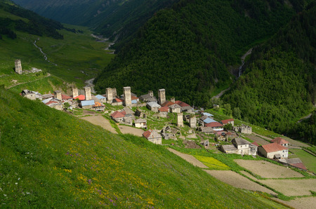 svan: Mountain Village. Summer landscape. Adishi, Zemo Svaneti, Georgia, Caucasus.